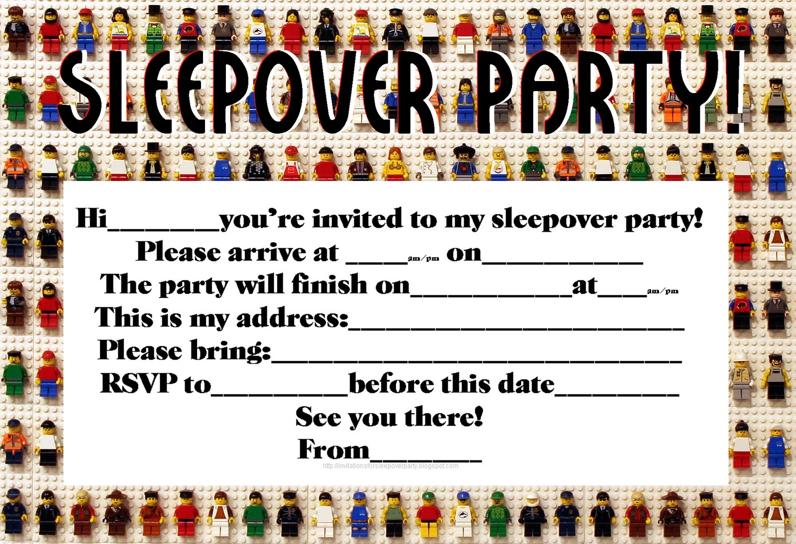 50 Beautiful Slumber Party Invitations – Boys Party Invitations