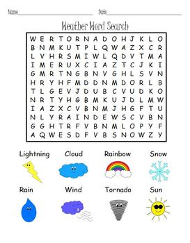 6 weather word search puzzles. Black Bedroom Furniture Sets. Home Design Ideas