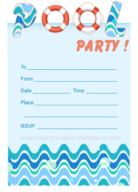 45 Pool Party Invitations | Kitty Baby Love
