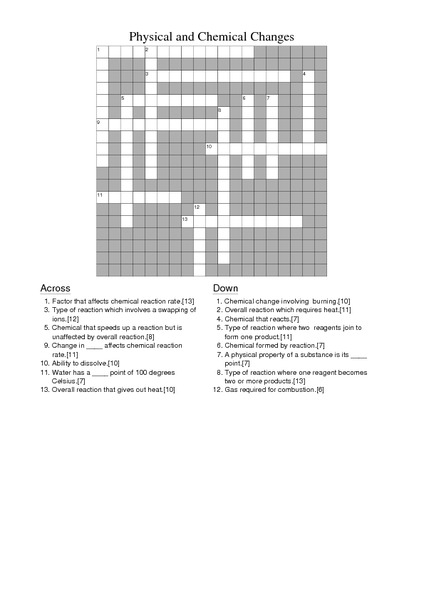 States Of Matter Crossword Answers & Overview Classification Of ...