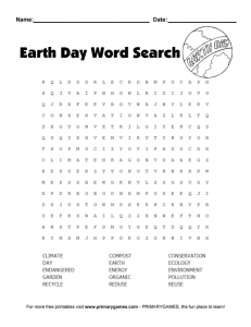 Earth Day Word Search High School