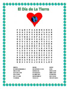 Earth Day Word Search in Spanish
