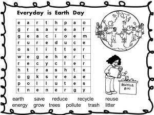 Earth Day Wordsearch for Adults