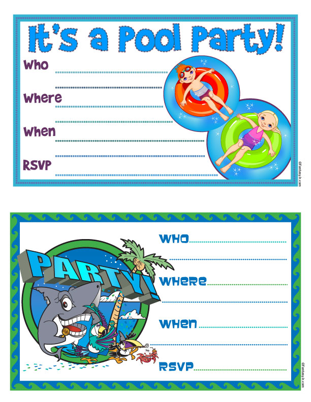 45 Pool Party Invitations – Free Party Invites