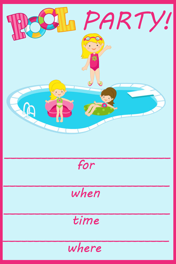 Blank Pool Party Invitations - Hlwhy