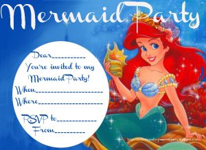 Little Mermaid Pool Party Invitations