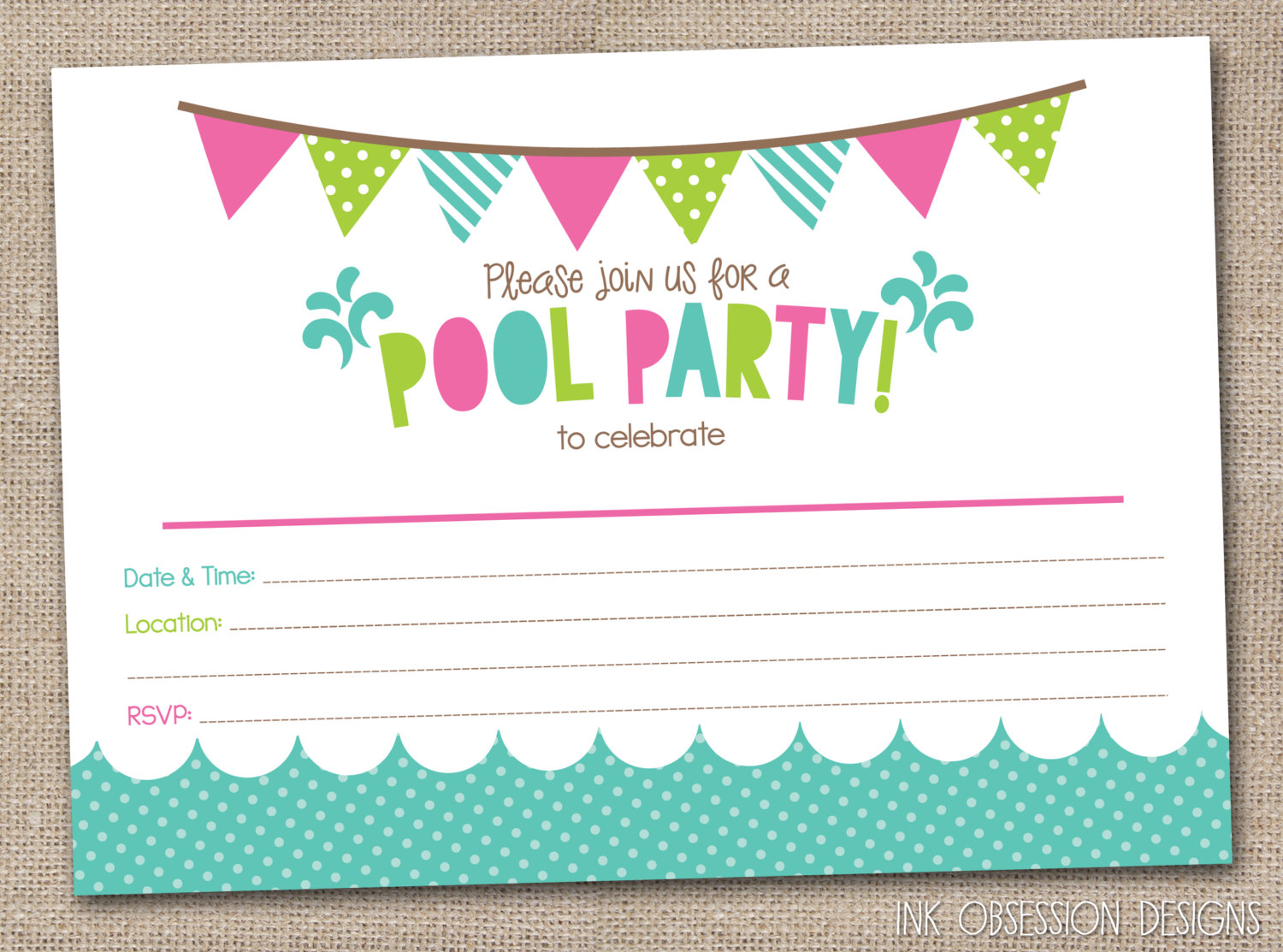 45 pool party invitations kitty baby love. Black Bedroom Furniture Sets. Home Design Ideas