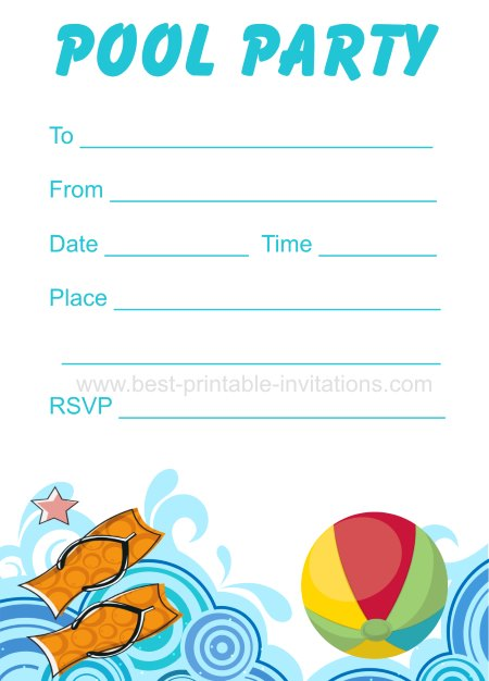 Free Printable Party Invitations Templates | 45 Pool Party Invitations Kitty Baby Love