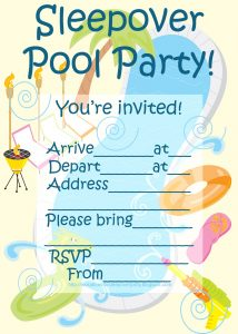 Pool Party Sleepover Invitations