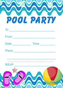Printable Pool Party Invitations