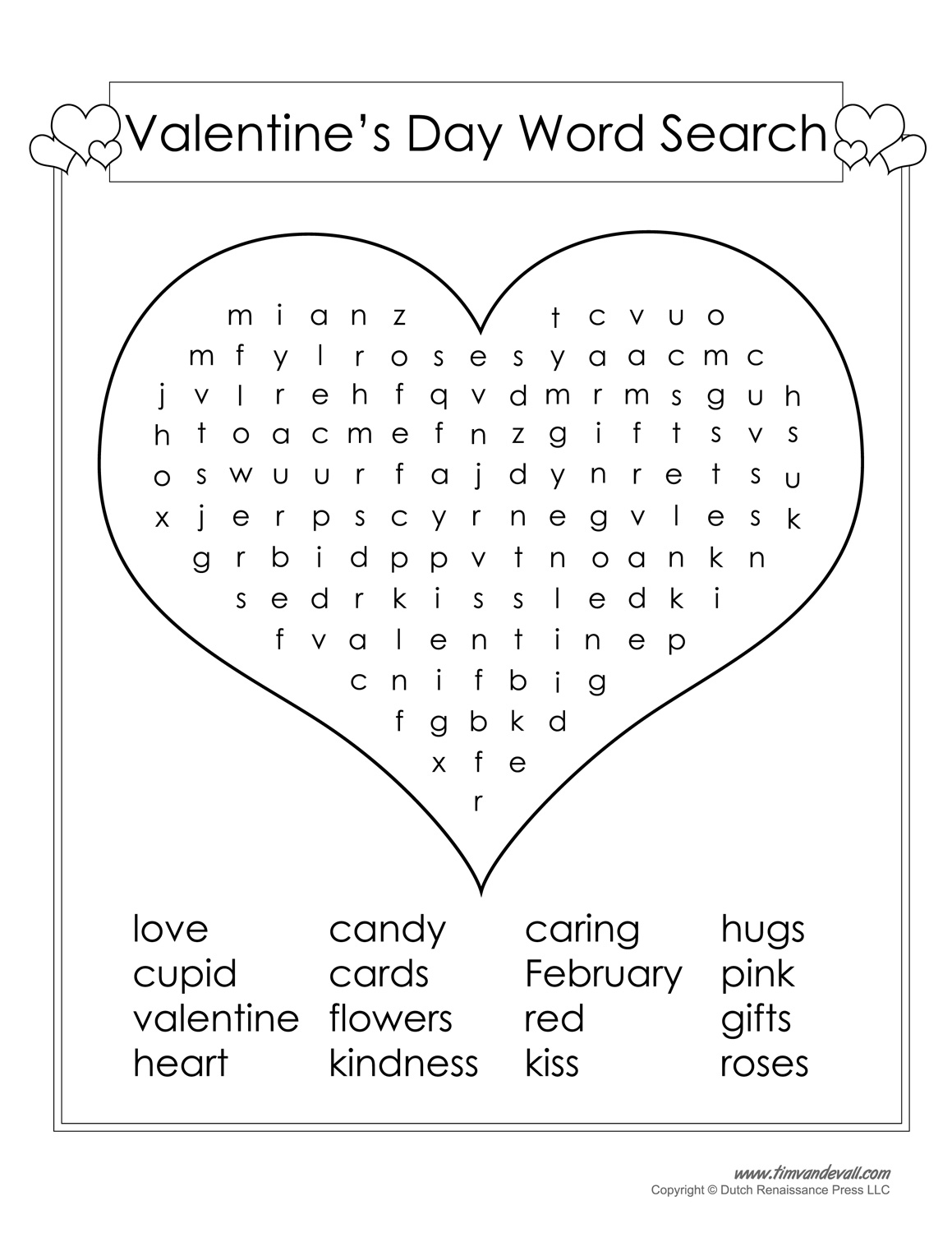 image about Valentine Puzzles Printable identify 12 Valentines Working day Term Look