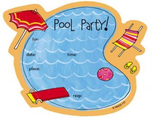 Swimming Pool Birthday Party Invitations