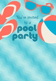 45 pool party invitations kitty baby love - How to make a pool party ...