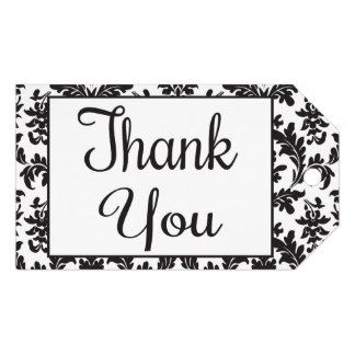 black and white thank you gift tags