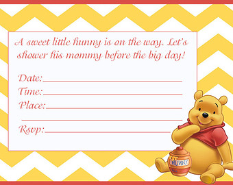 Wonderful Classic Winnie The Pooh Baby Shower Invites