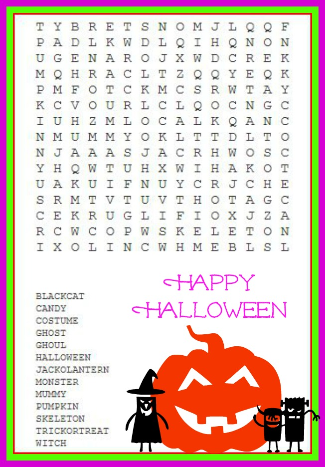 Free Halloween Word Search Puzzles