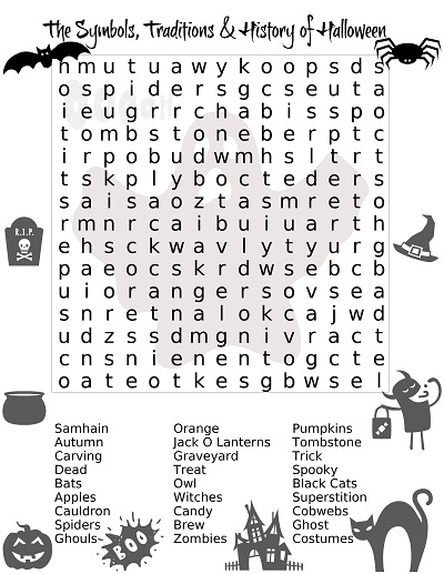Halloween Word Search Puzzles For Adults