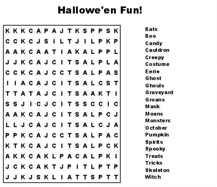 26 Spooky Halloween Word Searches | Kitty Baby Love