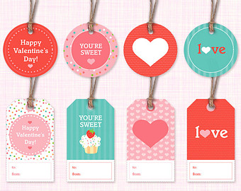photograph about Valentine Labels Printable named 6 Stunning Printable Valentine Present Tags
