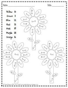 Addition Color by Number Free Printables