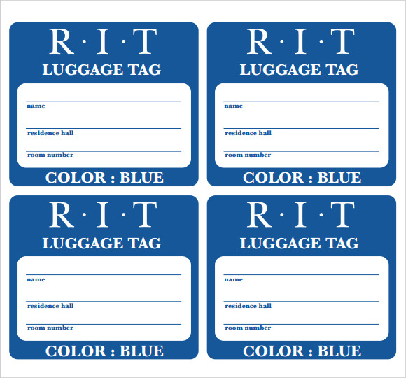 Amazing Airline Luggage Tag Template