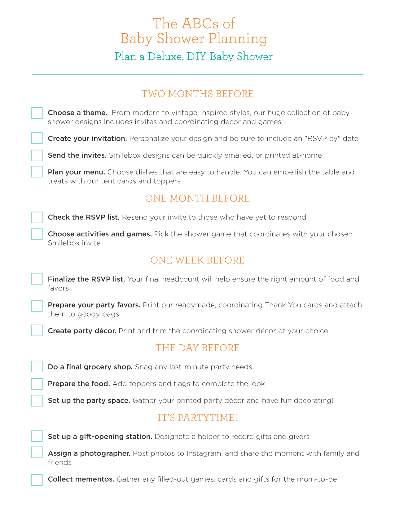 It is a graphic of Invaluable Printable Baby Shower Checklist