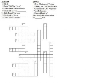 Civil War Crossword Puzzle