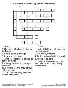 Civil War Crossword Puzzle American Revolution