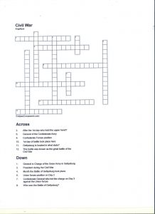 Civil War Crossword Puzzle Answers