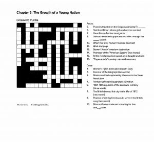 Crossword Puzzle the Civil War Period