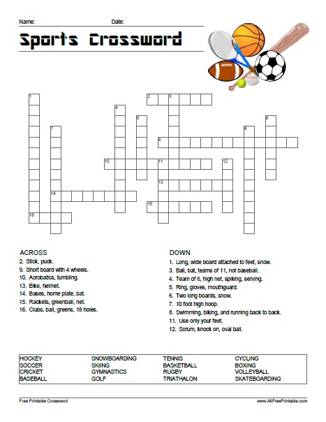 Crossword Puzzles On Sports With Answers