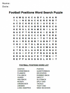Football Crossword Puzzle Printable