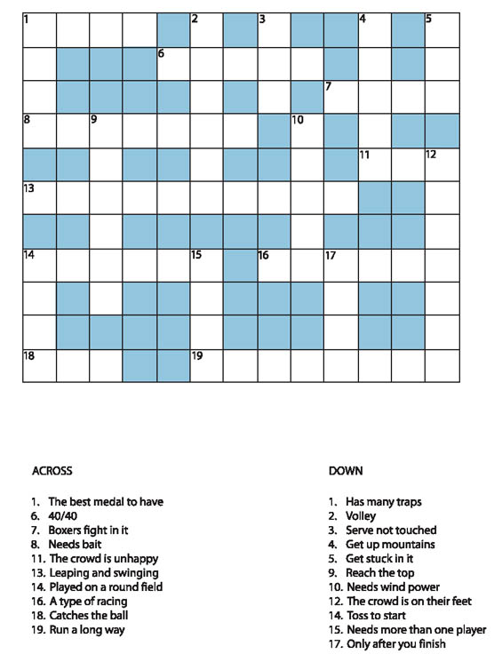 14 Sports Crossword Puzzles | Kitty Baby Love