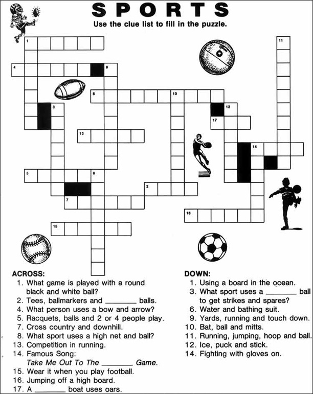 14 Sports Crossword Puzzles Kittybabylove Com