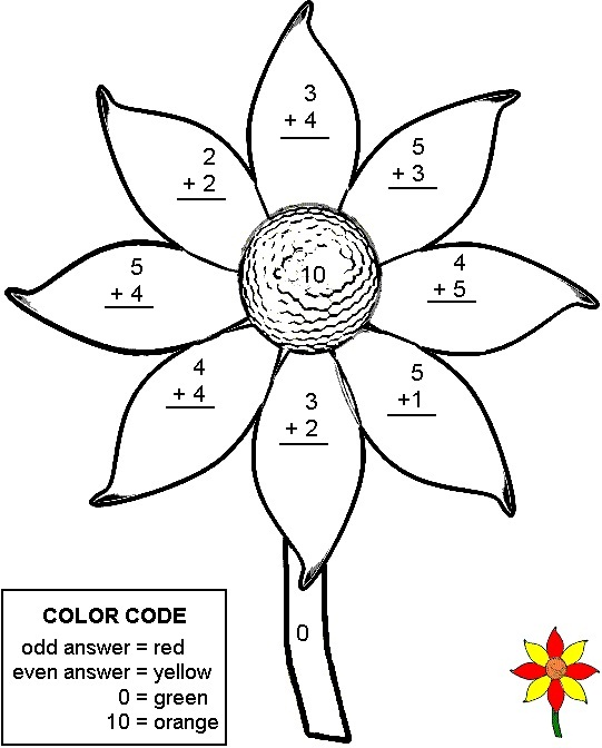 Free first grade color by number math worksheets