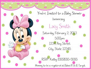Baby Minnie Mouse Birthday Invitation Wording