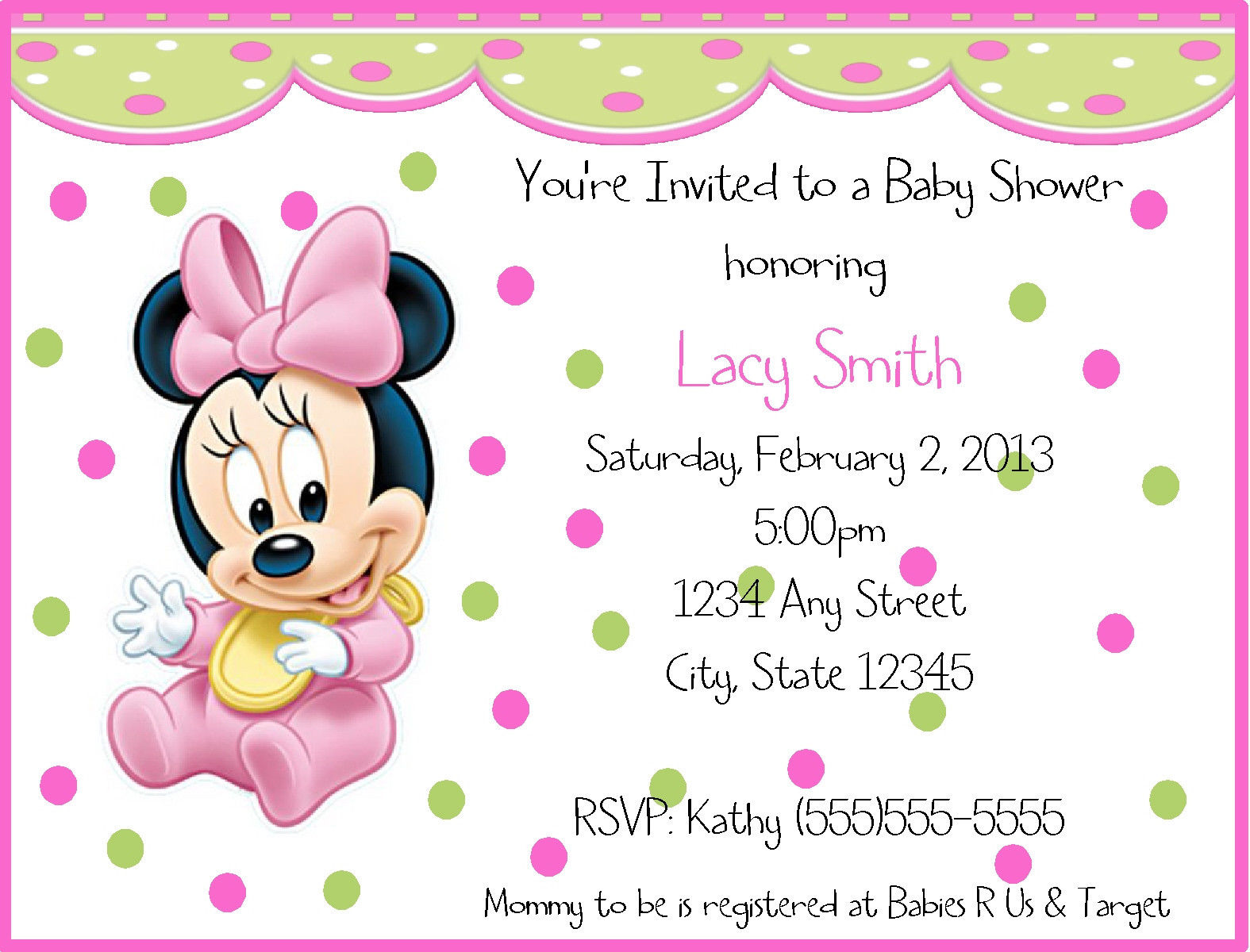 Superb Minnie Mouse Birthday Invitations Kitty Baby Love - Minnie mouse birthday invitation message