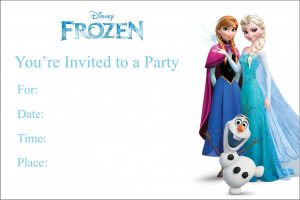 Frozen Theme Invitation