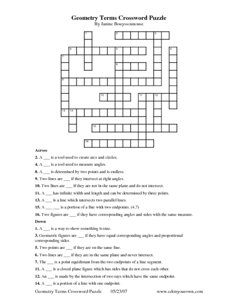 Geometry Crossword Puzzle on letter s puzzle printable color