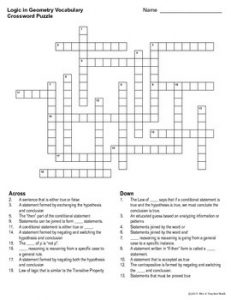 Geometry Vocabulary Crossword Puzzle