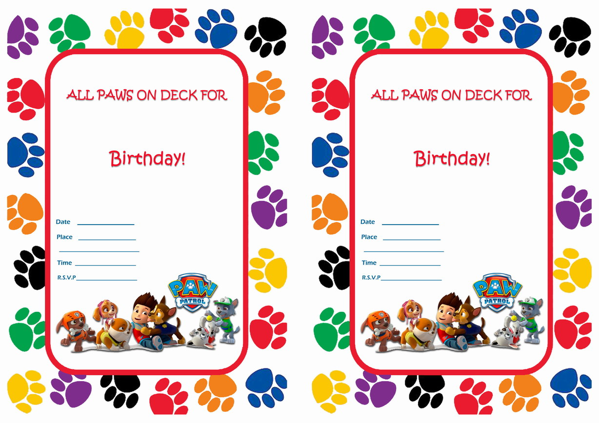 It's just a graphic of Enterprising Paw Patrol Printable Birthday Card