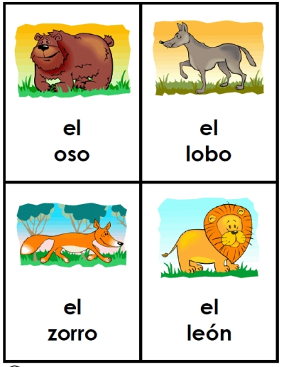 Pictures Spanish For Cute Girl: 15 Animal Flash Cards