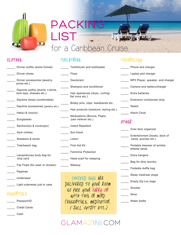 caribbean trip packing list