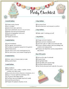 Birthday Party at the Park Checklist