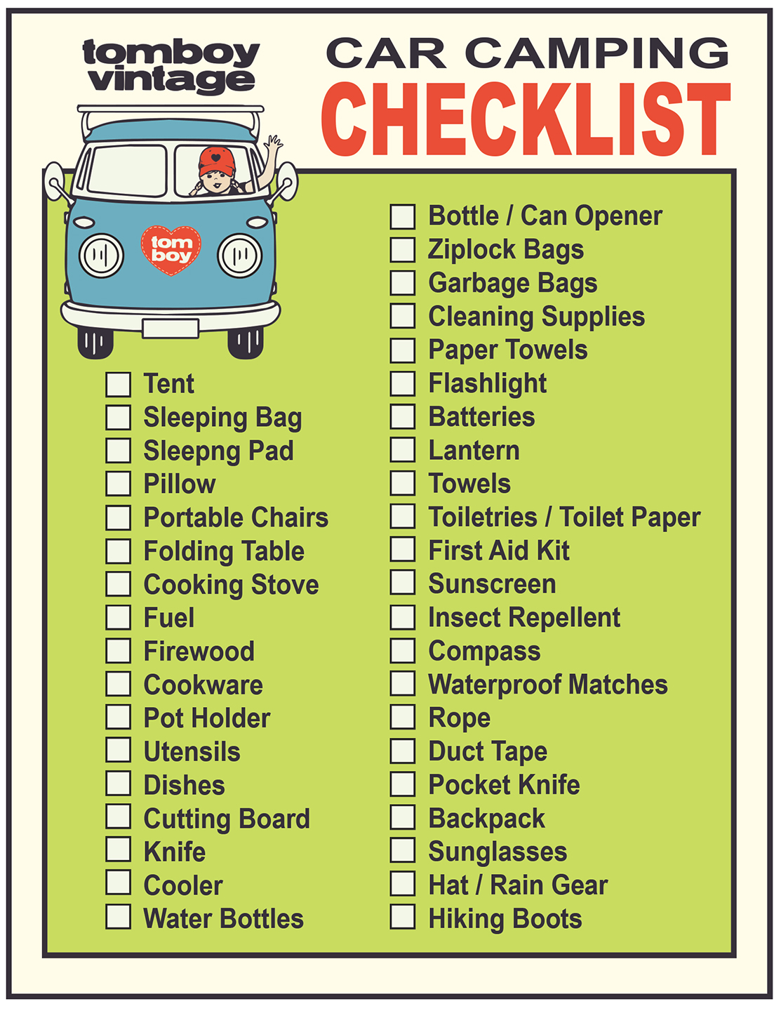 9 Helpful Car Camping Checklist