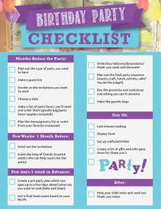 Checklist for 18th Birthday Party