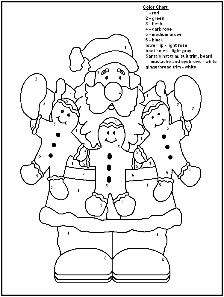 Christmas coloring by number pages ~ 22 Cheerful Christmas Color by Numbers | KittyBabyLove.com
