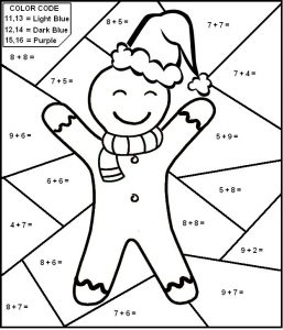 Color by Number Addition Christmas Worksheets