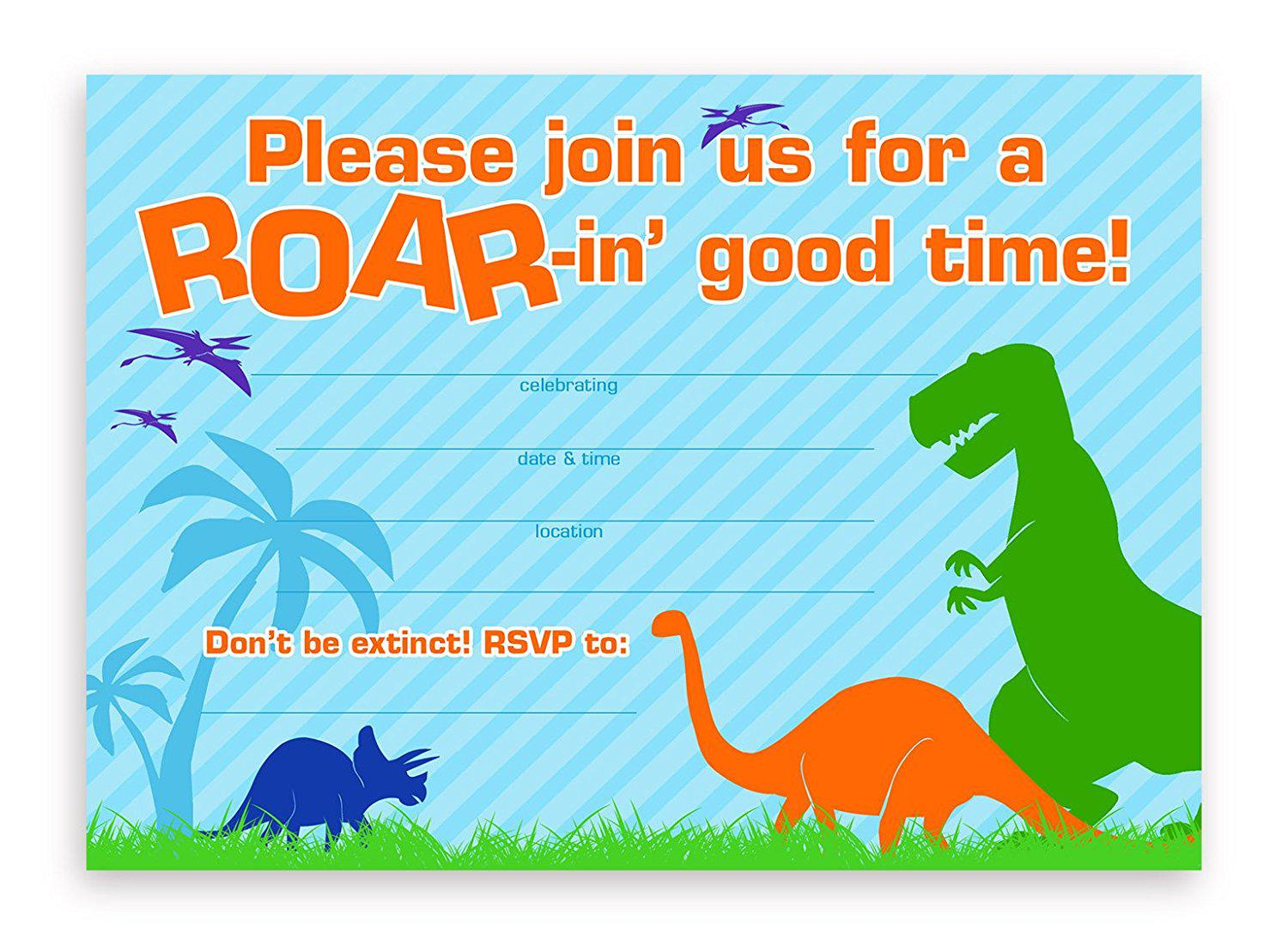 Astounding image for dinosaur invitations free printable