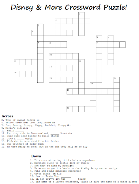 image relating to Disney Word Search Printable referred to as 11 Pleasurable Disney Crossword Puzzles